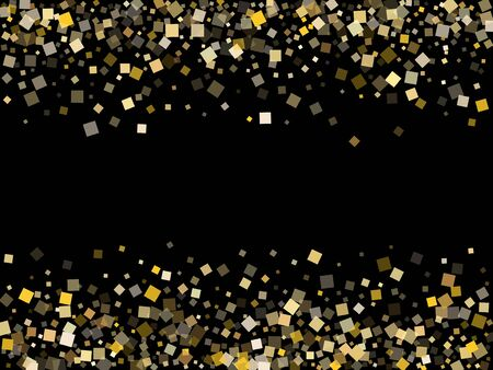 Stylish gold confetti sequins sparkles scatter on black. Rich Christmas vector sequins background. Gold foil confetti party decoration pattern. Many pieces party background.