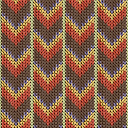 Cozy downward arrow lines knit texture geometric seamless pattern. Plaid hosiery textile print. Classic warm seamless knitted pattern. Fabric canvas illustration.