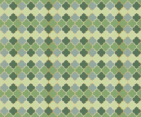 Persian Mosque Window Vector Seamless Pattern. Ramadan mubarak muslim background. Traditional ramadan mosque pattern in gold grid borders. Trendy islamic window grid design of lantern shapes tiles. Ilustração