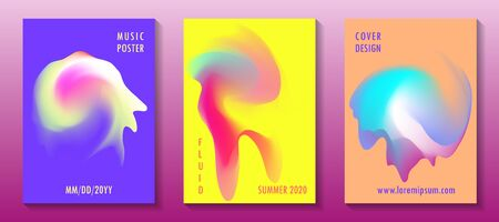 Summer disco party posters, colorful fluid liquid shapes. Club night flowing flyers. Abstract gradients fluid shapes backgrounds for covers. Contrast colors. Music party banners, bright disco posters. Stock Illustratie