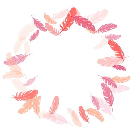 Trendy pink flamingo feathers vector background. Angel wing plumage concept. Fluffy twirled feathers on white design. Decoration confetti of carnival plumelet.  イラスト・ベクター素材