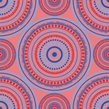 African folk motifs seamless pattern. Round medallion mandala geometric tiles. Fabric print template. Retro fashion pattern. Classic circular seamless ornament. Cute mandala design.