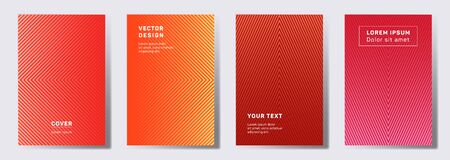 Minimalist cover templates set. Geometric lines patterns with edges, angles. Cool backgrounds for cataloges, corporate brochures. Lines texture, header title elements. Annual report covers.