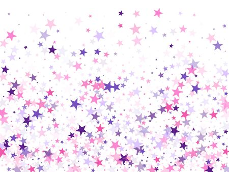 Flying stars confetti holiday vector in pink violet purple on white. Abstract starburst modern confetti. Party stars pattern graphic design. New year festive sparkles design. Vektorgrafik