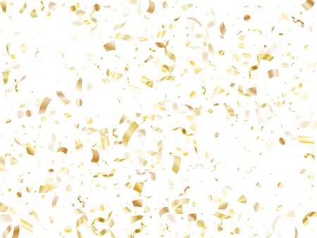 Gold glossy confetti flying on white holiday vector graphic design. Chic flying sparkle elements, gold foil texture serpentine streamers confetti falling festive vector.