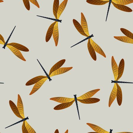 Dragonfly modern seamless pattern. Repeating dress fabric print with flying adder insects. Flying water dragonfly vector background. Wildlife beings seamless. Damselfly butterflies.