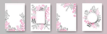 Cute herb twigs, tree branches, leaves floral invitation cards collection. Bouquet wreath elegant invitation cards with dandelion flowers, fern, lichen, olive branches, sage twigs.