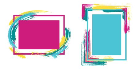 Stylish frames with paint brush strokes vector collection. Box borders with painted brushstrokes backgrounds. Advertising graphics design empty frame templates for banners, flyers, posters, cards. Иллюстрация