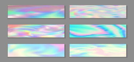 Neon holo trendy banner horizontal fluid gradient unicorn backgrounds vector set. Silk holography texture gradients. Fluid liquid print fashionable unicorn backgrounds.