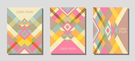 Collection of cover page layouts, vector templates geometric design with triangles and stripes. Ethnic brazil motifs. Bauhaus pattern vector covers design. Trendy rhombus stripe triangle shapes.