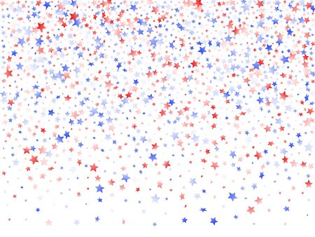 American Memorial Day stars background. Confetti in USA flag colors for Independence Day.  Vivid red blue white stars on white American patriotic vector. 4th of July stardust confetti.
