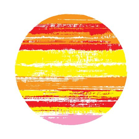Rough circle vector geometric shape with stripes texture of ink horizontal lines. Disk banner with old paint texture. Stamp round shape circle logo element with grunge stripes background.