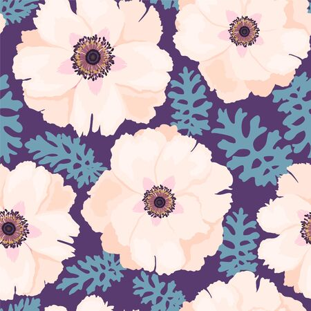 Pale pink peonies isolated on purple background vector seamless pattern. Romantic garden flowers illustration. Faded colors. Cute spring summer peony flowers seamless pattern. Fabric print design Иллюстрация