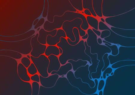 Abstract electromagnetic field fluid vector background. Energy flowing futuristic concept. Curve lines neurons net. Crossed wavy lines grid scientific background. Creative digital artwork in red blue