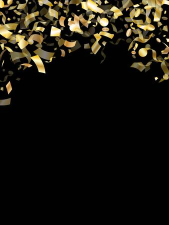 Gold shining realistic confetti flying on black holiday vector graphic design. Chic flying tinsel elements, gold foil texture serpentine streamers confetti falling anniversary vector. Иллюстрация