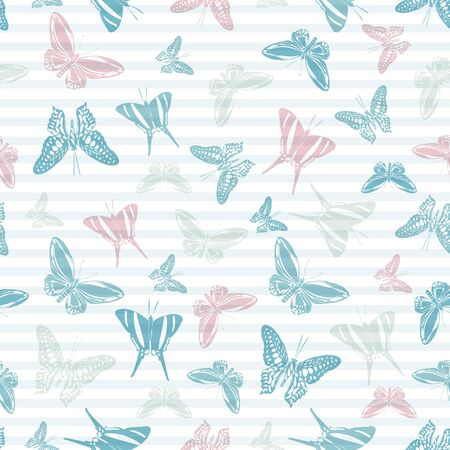 Flying exotic butterfly silhouettes over striped background vector seamless pattern. Vintage fabric print design. Stripes and butterfly garden insect silhouettes seamless wrapping. Иллюстрация