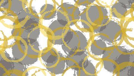 Modern hand drawn circles geometry fabric print. Round shape blob overlapping elements vector seamless pattern. Paint texture circles geometry fabric seamless. Иллюстрация