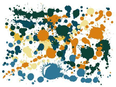 Gouache paint stains grunge background vector. Trendy ink splatter, spray blots, dirty spot elements, wall graffiti. Watercolor paint splashes pattern, smear liquid stains splatter backdrop.