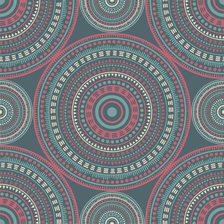 Moroccan folk motifs seamless pattern. Circle medallion mandala abstract tiles. Fabric print template. Retro fashion pattern. Floral geometric circular seamless ornament.