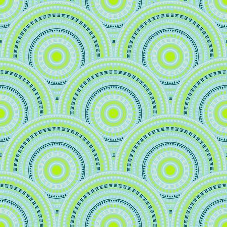 Chinese overlapping circles embroidery vector seamless pattern. Ethnic motifs doodle line art geometry. Japanese folk mandala shapes seamless geometric motifs pattern. Ilustrace
