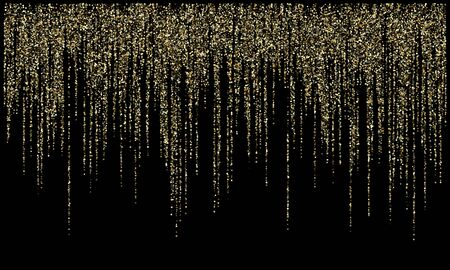 Garland lights gold glitter hanging vertical lines vector holiday background. Confetti dots rain, rich gold garlands glitter with light effect. Circle confetti falling, christmas sparkles shimmer.