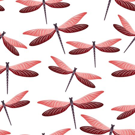 Dragonfly beautiful seamless pattern. Repeating clothes fabric print with flying adder insects. Graphic water dragonfly vector illustration. Nature beings seamless. Damselfly silhouettes.