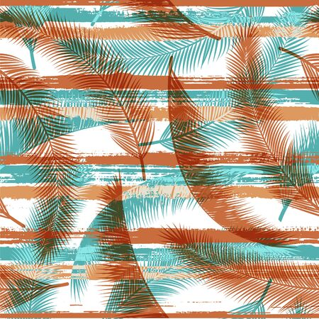 Exotic coconut palm leaves tree branches overlaying stripes vector seamless pattern. Caribbean forest foliage beach fashion fabric print. Floral tropical leaves seamless design.