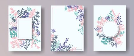 Watercolor herb twigs, tree branches, leaves floral invitation cards collection. Herbal frames elegant invitation cards with dandelion flowers, fern, mistletoe, eucalyptus leaves, savory twigs.