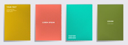 Minimalistic cover templates set. Radial semicircle geometric lines patterns. Halftone poster, flyer, banner vector backgrounds. Lines texture, header title elements. Cover page layouts set.