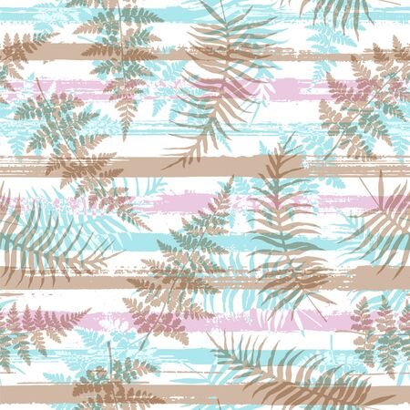 Trendy new zealand fern frond and bracken grass over painted stripes seamless pattern design. South african exotic foliage swimwear textile print. Floral tropical leaves seamless design.