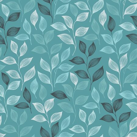 Packaging tea leaves pattern seamless vector. Minimal tea plant bush leaves floral fabric design. Herbal sketchy seamless background pattern with nature elements. Herbs summer foliage wallpaper. Иллюстрация