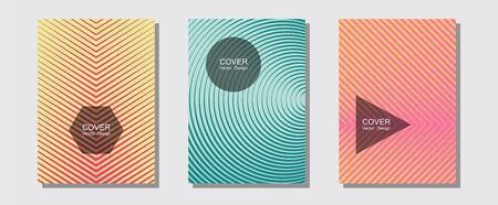 Brochure covers, posters, banners vector templates. Digital collection. Halftone lines music poster background. Advertising text space. Geometric graphic design for booklet brochure covers. Иллюстрация