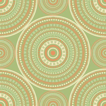 Arabic vintage motifs seamless pattern. Circle medallion mandala abstract tiles. Fabric print template. Retro fashion pattern. Classic circular seamless ornament. Cute mandala design.