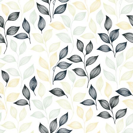 Packaging tea leaves pattern seamless vector. Minimal tea plant bush leaves floral textile print. Herbal sketchy seamless background pattern with nature elements. Herbs summer foliage wallpaper.