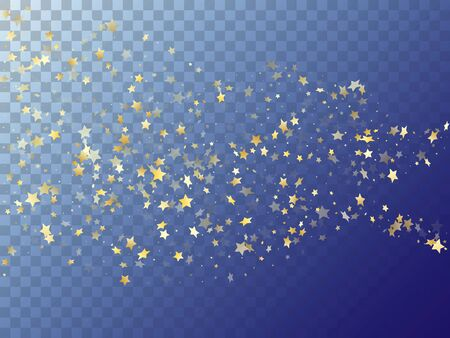 Star shining gold gradient sparkles on transparent background. Premium vector magic stars gold falling sparkles with gradient texture on transparent. Christmas starburst fireworks backdrop. Иллюстрация
