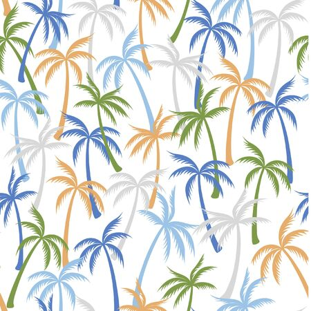 Coconut palm tree pattern textile seamless tropical forest background. Subtropical vector wallpaper repeating pattern. Minimalist tropical plants, coconut trees, beach palms textile background design.