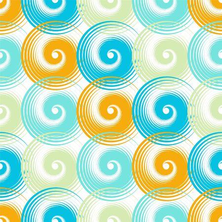 Spiral swirls blue orange complicated seamless pattern vector design. Round spiral scrolls, circle swirls geometric elements, curly vortex tiles. Cute swirl scrolls abstract background seamless pattern.