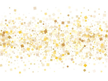 Festive gold confetti sequins tinsels scatter on white. Luxurious Christmas vector sequins background. Gold foil confetti party pieces illustration. Overlay particles surprise backdrop. Иллюстрация