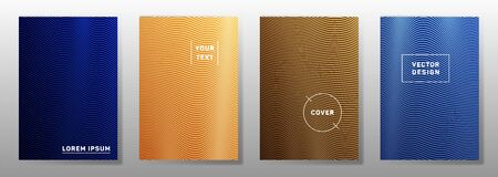 Wave halftone backgrounds cool cover pages vector collection. Vivid wavy lines halftone patterns book covers design. Waves ripple texture certificate backgrounds. Иллюстрация