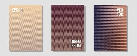Halftone gradient texture vector cover layouts. Futuristic style. Zigzag halftone lines wave stripes backdrops. Technological formers. Multiple lines cool gradient texture backgrounds. Иллюстрация