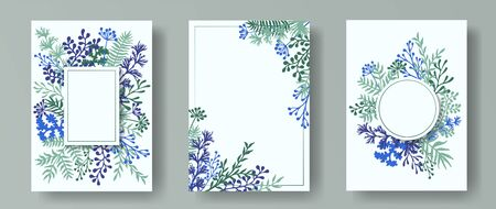Tropical herb twigs, tree branches, flowers floral invitation cards set. Herbal corners retro invitation cards with dandelion flowers, fern, lichen, olive tree leaves, savory twigs.