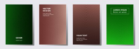 Trendy covers linear design. Geometric lines patterns with edges, angles. Halftone poster, flyer, banner vector backgrounds. Line stripes graphics, title elements. Cover page layouts set.