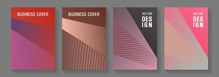 Linear geometry poster vector templates. Futuristic publication papers. Lines gradient texture booklet layouts. Vibrant gradient book backdrops. Stationery notebook covers design set. Иллюстрация