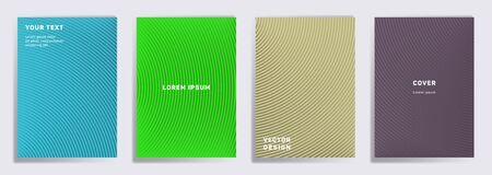 Minimalistic cover templates set. Radial semicircle geometric lines patterns. Gradient backgrounds for cataloges, corporate brochures. Line stripes graphics, title elements. Cover page layouts set.