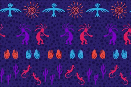 Ancient aztec or mayan american vector ethnic tribal motifs seamless pattern. Aborigine design with trickster god, swirl icons on human palm, sun, eagle. American indian aboriginal textile print.