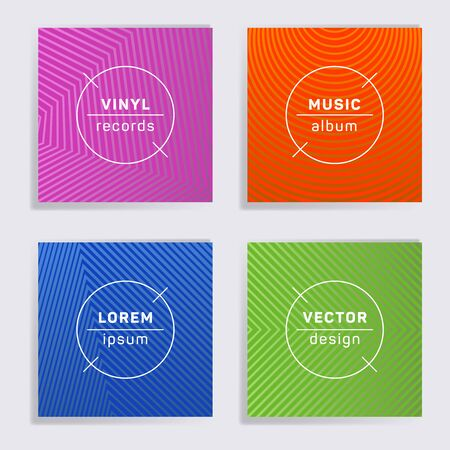 Abstract vinyl records music album covers set. Halftone lines backgrounds. Flat creative vinyl music album covers, disc mockups. DJ records geometric layouts. Posters material design.