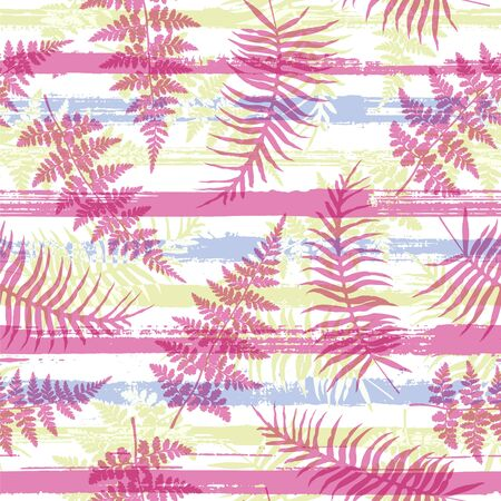 Decorative new zealand fern frond and bracken grass overlapping stripes vector seamless pattern. Brazilian forest foliage beach fashion fabric print. Stripes and tropical leaves illustration.