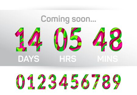 Coming soon time countdown graphic design. Paper cut 3D multi layer numbers, figures. Countdown clock counter timer vector template for website. Paper cut style time remaining count down scoreboard.