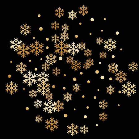 Crystal snowflake and circle elements vector backdrop. Minimal winter snow confetti scatter poster background. Flying gradient snow flakes background, frosty water crystals confetti.