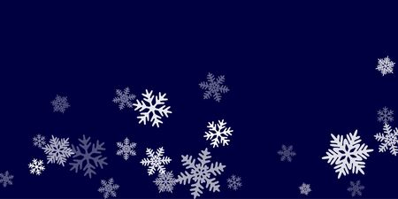Winter snowflakes border minimal vector background. Macro snowflakes flying border design, holiday card with flakes confetti scatter frame, snow elements. Freezing cold symbols.